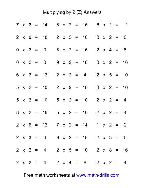 The 36 Horizontal Multiplication Facts Questions -- 2 by 0-9 (Z) Math Worksheet Page 2