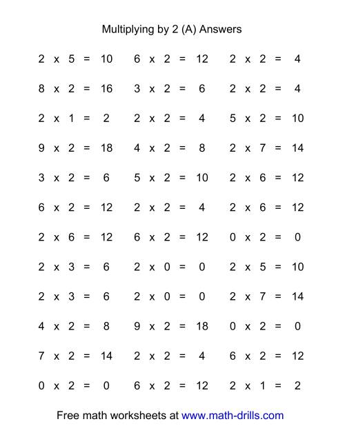 The 36 Horizontal Multiplication Facts Questions -- 2 by 0-9 (All) Math Worksheet Page 2