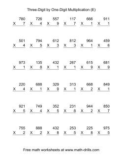 Multiplying Three-Digit by One-Digit -- 36 per page (E)