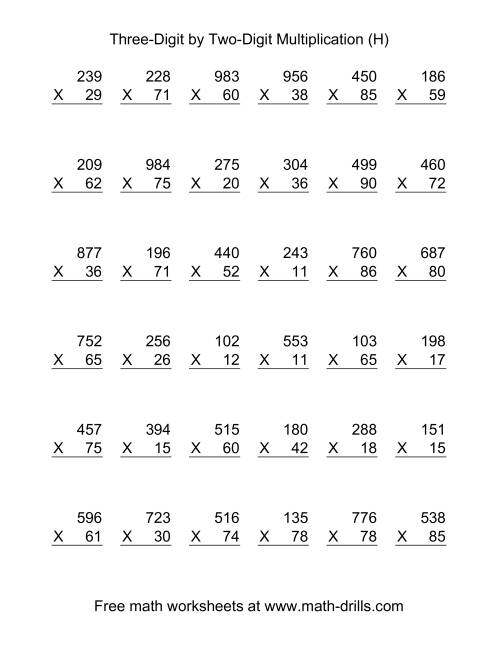The Multiplying Three-Digit by Two-Digit -- 36 per page (H) Math Worksheet