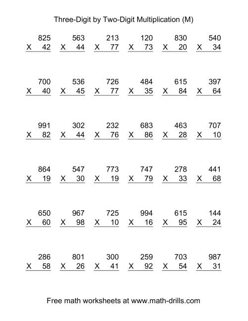 The Multiplying Three-Digit by Two-Digit -- 36 per page (M) Math Worksheet