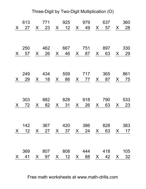 The Multiplying Three-Digit by Two-Digit -- 36 per page (O) Math Worksheet