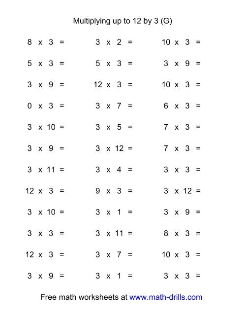 The 36 Horizontal Multiplication Facts Questions -- 3 by 0-12 (G) Multiplication Worksheet