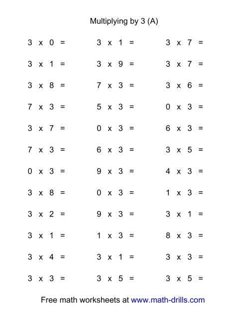 The 36 Horizontal Multiplication Facts Questions -- 3 by 0-9 (A) Math Worksheet