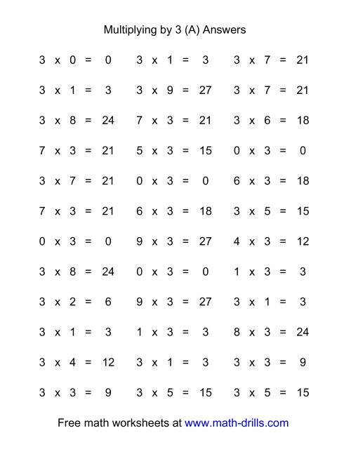 36 Horizontal Multiplication Facts Questions -- 3 by 0-9 (A)