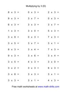 36 Horizontal Multiplication Facts Questions -- 3 by 0-9 (D)
