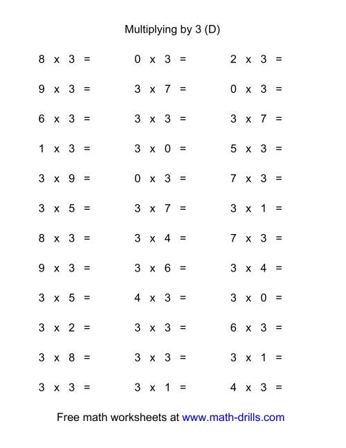 The 36 Horizontal Multiplication Facts Questions -- 3 by 0-9 (D)