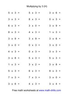 36 Horizontal Multiplication Facts Questions -- 3 by 0-9 (H)