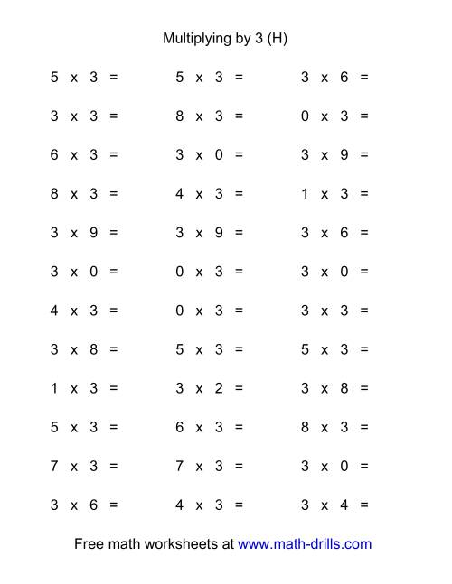 The 36 Horizontal Multiplication Facts Questions -- 3 by 0-9 (H) Math Worksheet