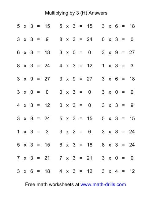 The 36 Horizontal Multiplication Facts Questions -- 3 by 0-9 (H) Math Worksheet Page 2