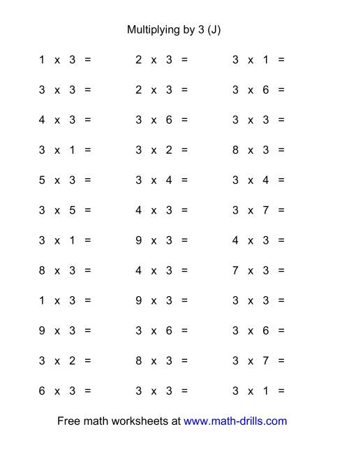 The 36 Horizontal Multiplication Facts Questions -- 3 by 0-9 (J) Math Worksheet