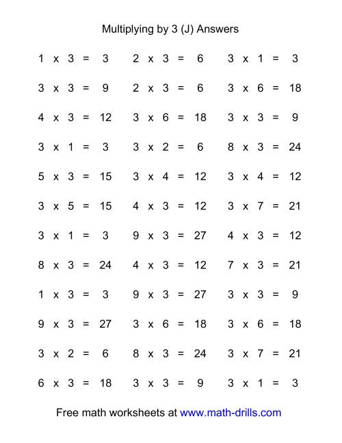The 36 Horizontal Multiplication Facts Questions -- 3 by 0-9 (J) Math Worksheet Page 2