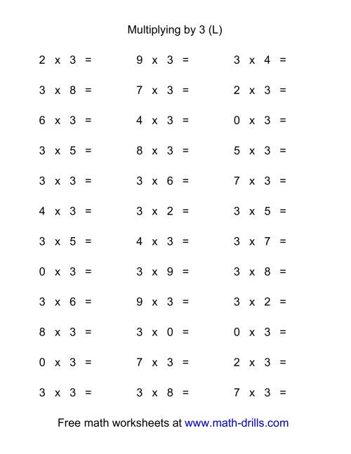 The 36 Horizontal Multiplication Facts Questions -- 3 by 0-9 (L) Math Worksheet