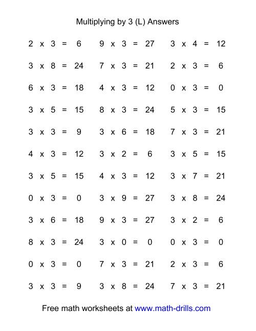 The 36 Horizontal Multiplication Facts Questions -- 3 by 0-9 (L) Math Worksheet Page 2