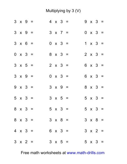 The 36 Horizontal Multiplication Facts Questions -- 3 by 0-9 (V) Math Worksheet