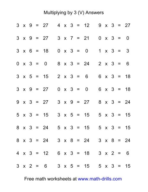 The 36 Horizontal Multiplication Facts Questions -- 3 by 0-9 (V) Math Worksheet Page 2