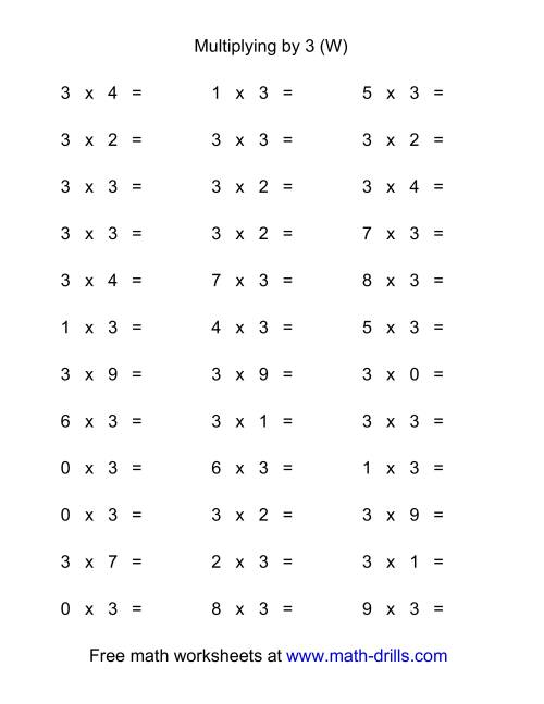 The 36 Horizontal Multiplication Facts Questions -- 3 by 0-9 (W) Math Worksheet