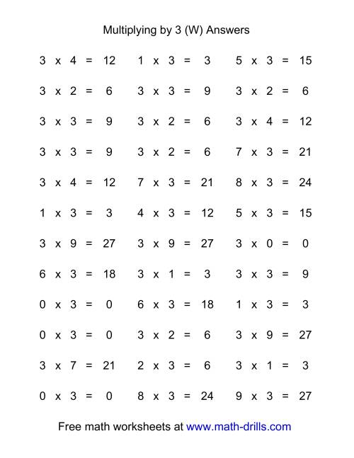 The 36 Horizontal Multiplication Facts Questions -- 3 by 0-9 (W) Math Worksheet Page 2