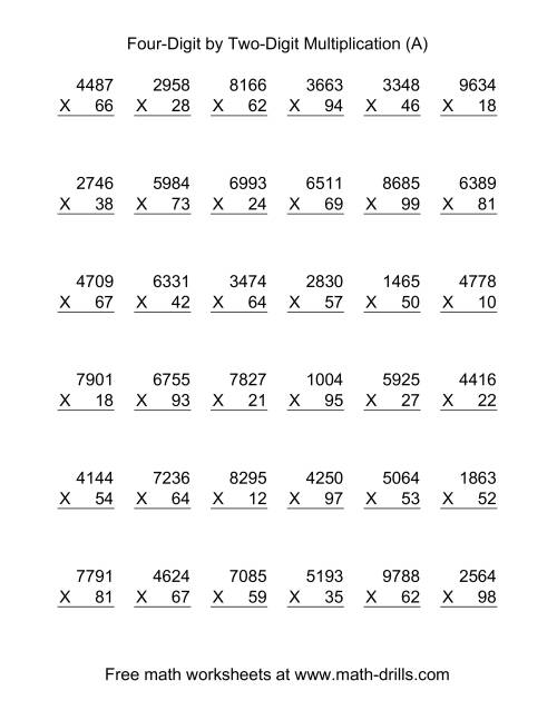 math worksheet : multiplying four digit by two digit  36 per page a  : Two Digit By Two Digit Multiplication Worksheets Free
