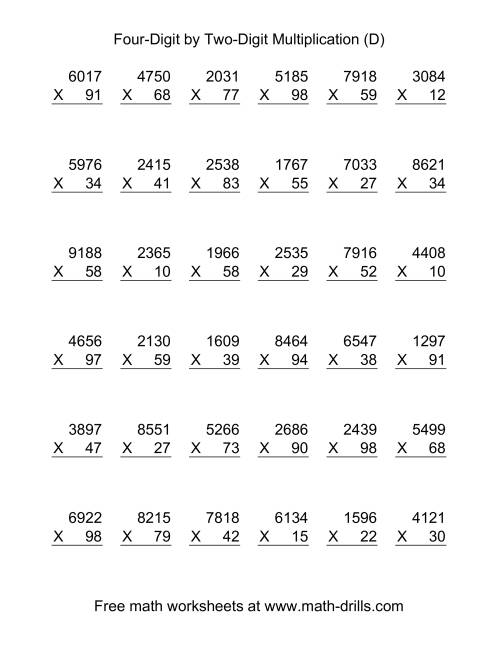 The Multiplying Four-Digit by Two-Digit -- 36 per page (D) Multiplication Worksheet