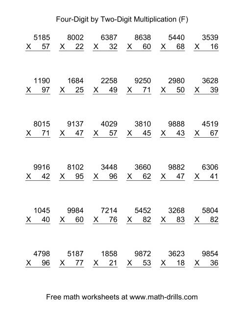 The Multiplying Four-Digit by Two-Digit -- 36 per page (F) Multiplication Worksheet