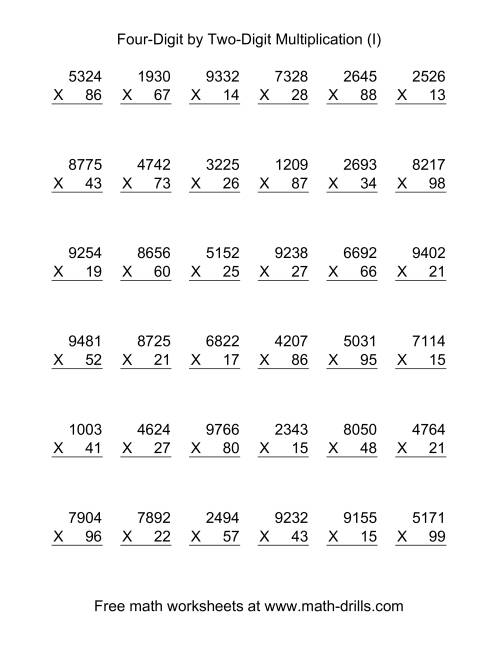 The Multiplying Four-Digit by Two-Digit -- 36 per page (I) Multiplication Worksheet
