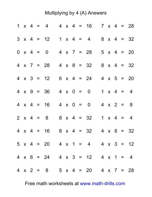 The 36 Horizontal Multiplication Facts Questions -- 4 by 0-9 (A) Math Worksheet Page 2