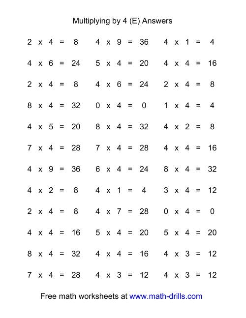 The 36 Horizontal Multiplication Facts Questions -- 4 by 0-9 (E) Math Worksheet Page 2