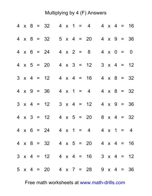 The 36 Horizontal Multiplication Facts Questions -- 4 by 0-9 (F) Math Worksheet Page 2