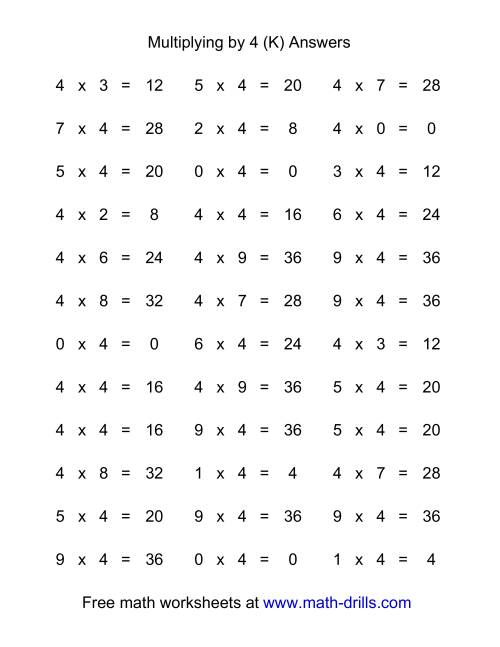 The 36 Horizontal Multiplication Facts Questions -- 4 by 0-9 (K) Math Worksheet Page 2