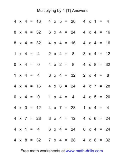 The 36 Horizontal Multiplication Facts Questions -- 4 by 0-9 (T) Math Worksheet Page 2