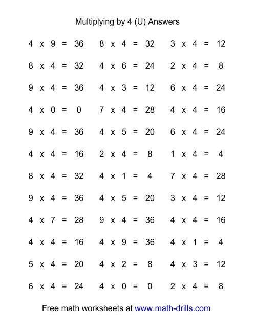 The 36 Horizontal Multiplication Facts Questions -- 4 by 0-9 (U) Math Worksheet Page 2