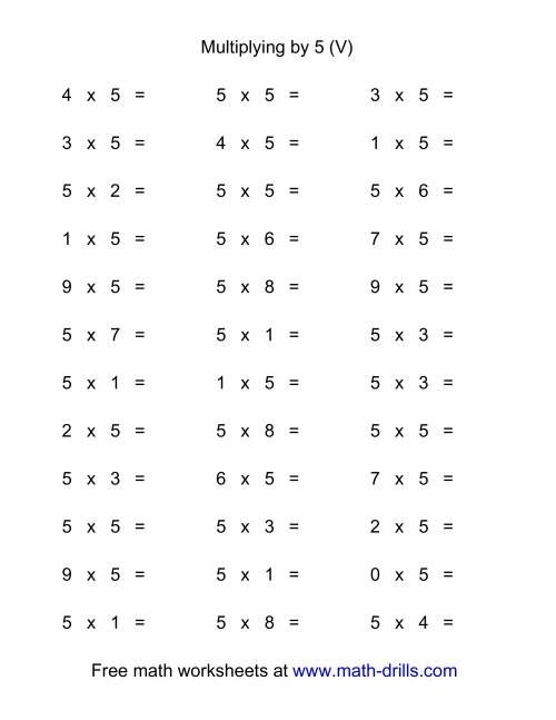36 horizontal multiplication facts questions 5 by 0 9 v. Black Bedroom Furniture Sets. Home Design Ideas