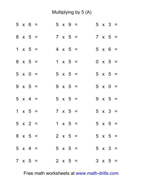 The 36 Horizontal Multiplication Facts Questions -- 5 by 0-9 (All) Math Worksheet