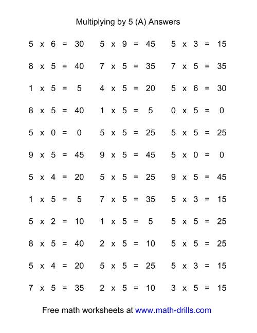 The 36 Horizontal Multiplication Facts Questions -- 5 by 0-9 (All) Math Worksheet Page 2