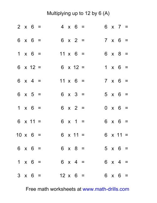 36 Horizontal Multiplication Facts Questions -- 6 by 0-12 (A)
