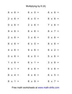36 Horizontal Multiplication Facts Questions -- 6 by 0-9 (A)
