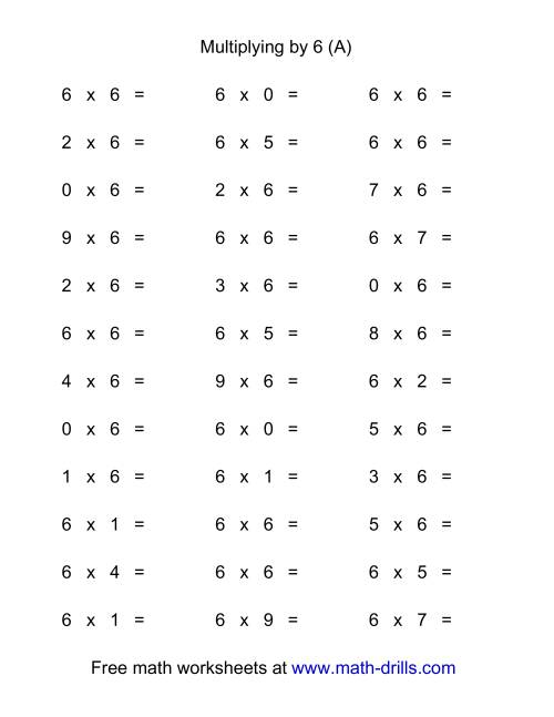 The 36 Horizontal Multiplication Facts Questions -- 6 by 0-9 (A)