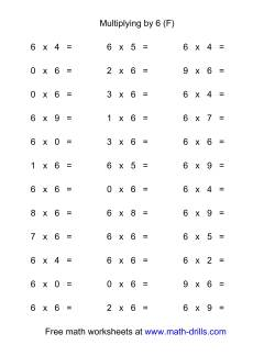36 Horizontal Multiplication Facts Questions -- 6 by 0-9 (F)
