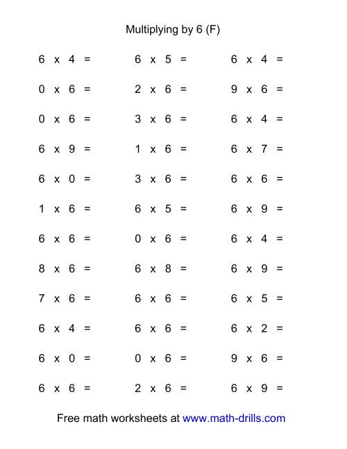 The 36 Horizontal Multiplication Facts Questions -- 6 by 0-9 (F) Multiplication Worksheet