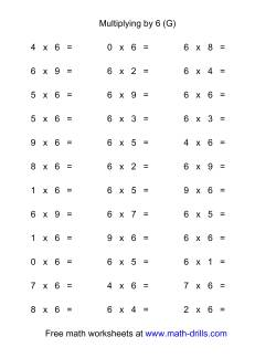 36 Horizontal Multiplication Facts Questions -- 6 by 0-9 (G)
