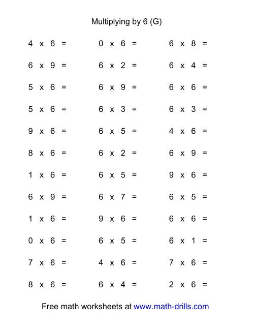 The 36 Horizontal Multiplication Facts Questions -- 6 by 0-9 (G) Multiplication Worksheet