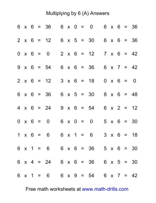 The 36 Horizontal Multiplication Facts Questions -- 6 by 0-9 (All) Math Worksheet Page 2