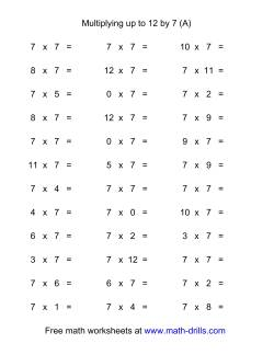 36 Horizontal Multiplication Facts Questions -- 7 by 0-12 (A)