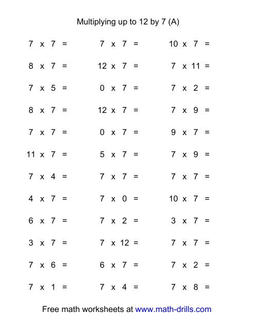 The 36 Horizontal Multiplication Facts Questions -- 7 by 0-12 (A) Multiplication Worksheet