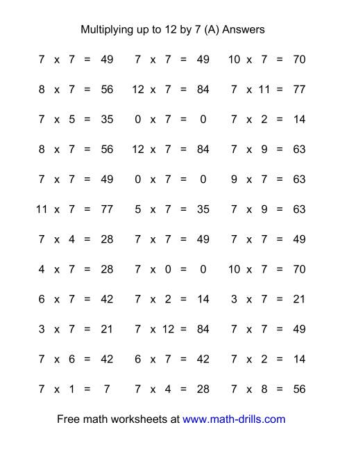 100 Horizontal Questions -- 1 by 0-12 (A)