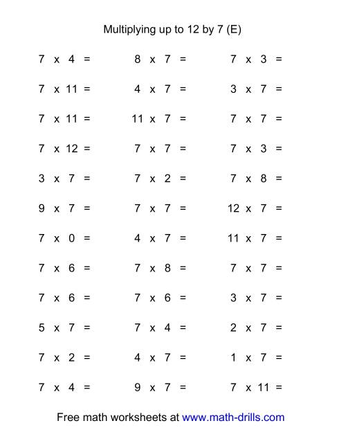The 36 Horizontal Multiplication Facts Questions -- 7 by 0-12 (E) Multiplication Worksheet
