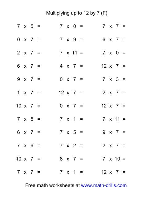 The 36 Horizontal Multiplication Facts Questions -- 7 by 0-12 (F) Multiplication Worksheet