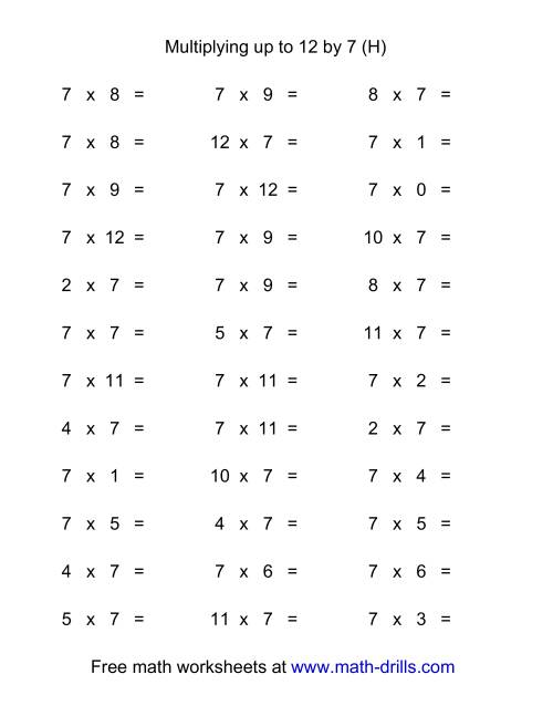 The 36 Horizontal Multiplication Facts Questions -- 7 by 0-12 (H) Multiplication Worksheet
