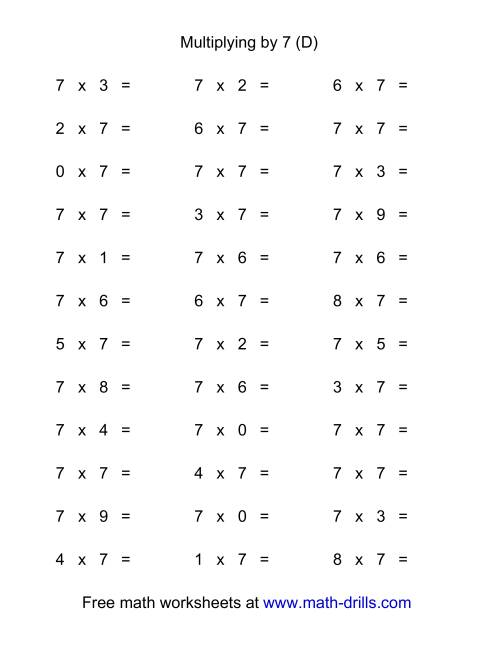 The 36 Horizontal Multiplication Facts Questions -- 7 by 0-9 (D)
